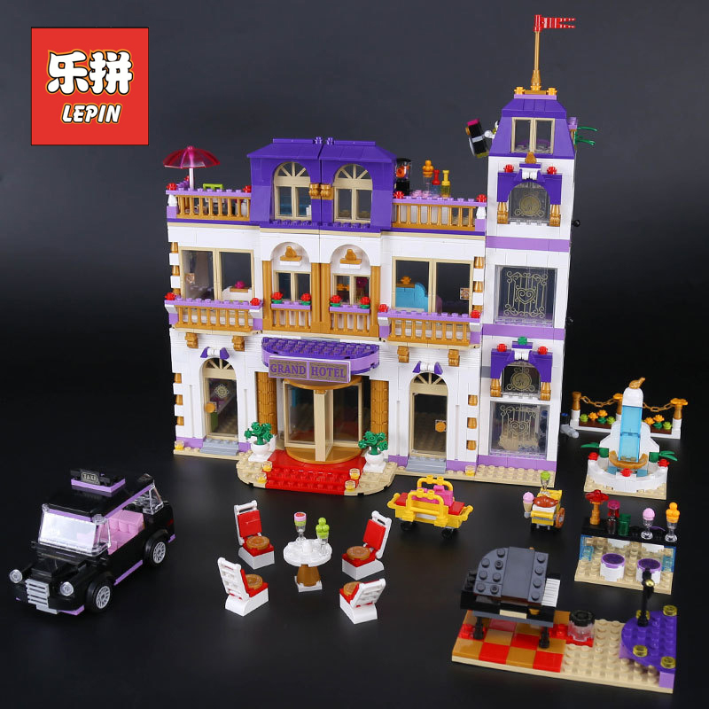 1676Pcs Lepin 01045 Girls Series Compatible Legoings Friends the Heartlake Grand Hotel Model Building Blocks Bricks toys girl high power dimmable 189mm led r7s light 50w cob r7s led lamp with cooling fan replace 500w halogen lamp