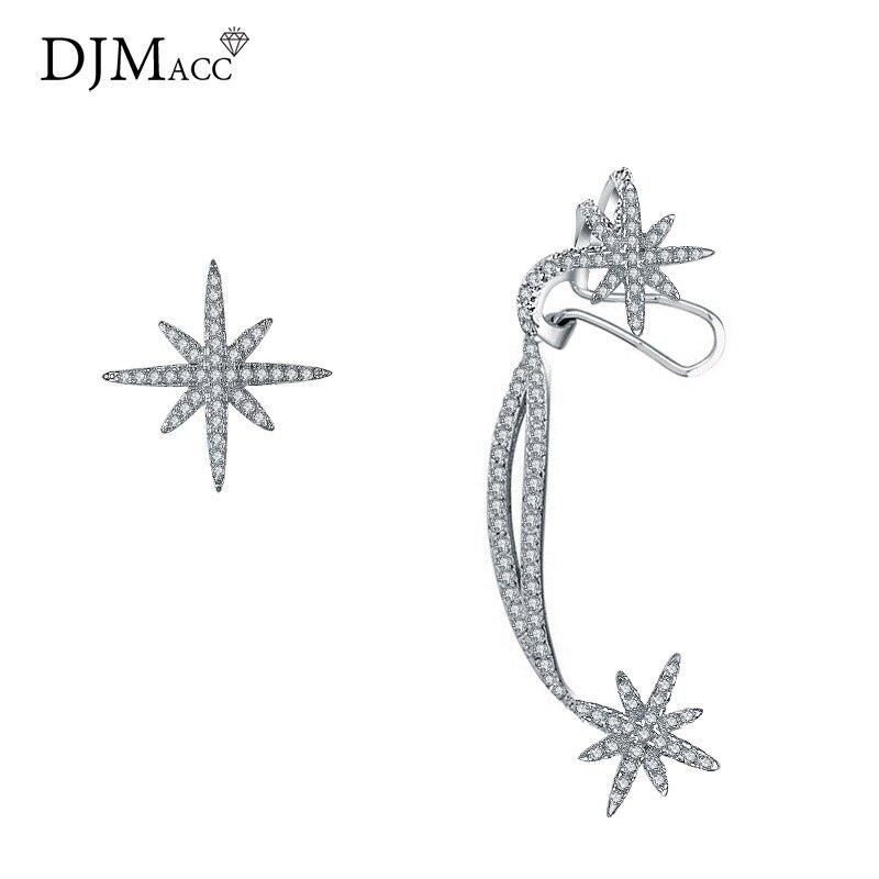 Djmacc 925 Серебро иглы серьги полный циркон Звезда Асимметричная Клипсы для Для женщин Grils Модные украшения(dj1151