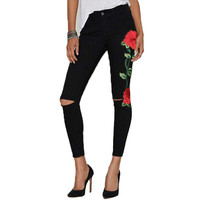 Stretch Embroidery Ripped Jeans Psnts Black Woman High Waist Skinny Jeans Sexy Hip Lift Jeans Femme Black Gray Top Quality