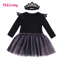 Baby Girls Lace Dress For 0 2 Year Kids 2017 New Casual Romper Black Long Sleeve