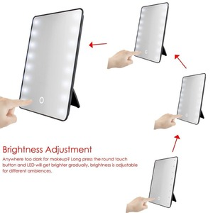 Image 5 - RUIMIO Makeup Mirror with 8/16 LEDs Cosmetic Mirror with Touch Dimmer Switch Battery Operated Stand for Tabletop Bathroom Travel