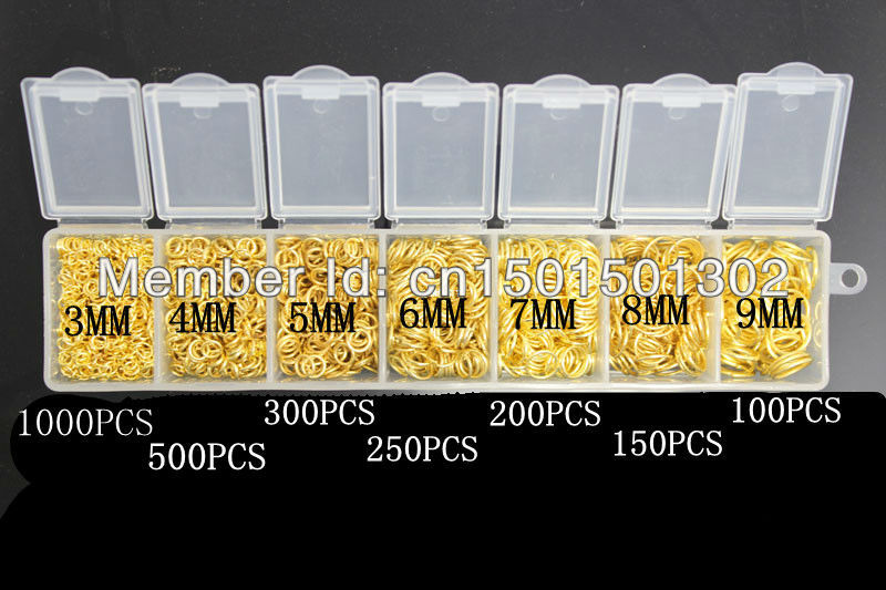 3-9MM 1000PCS 18K Gold Open Jump Ring Silver Components DIY Jewelry Accessories 925 silver opening rings