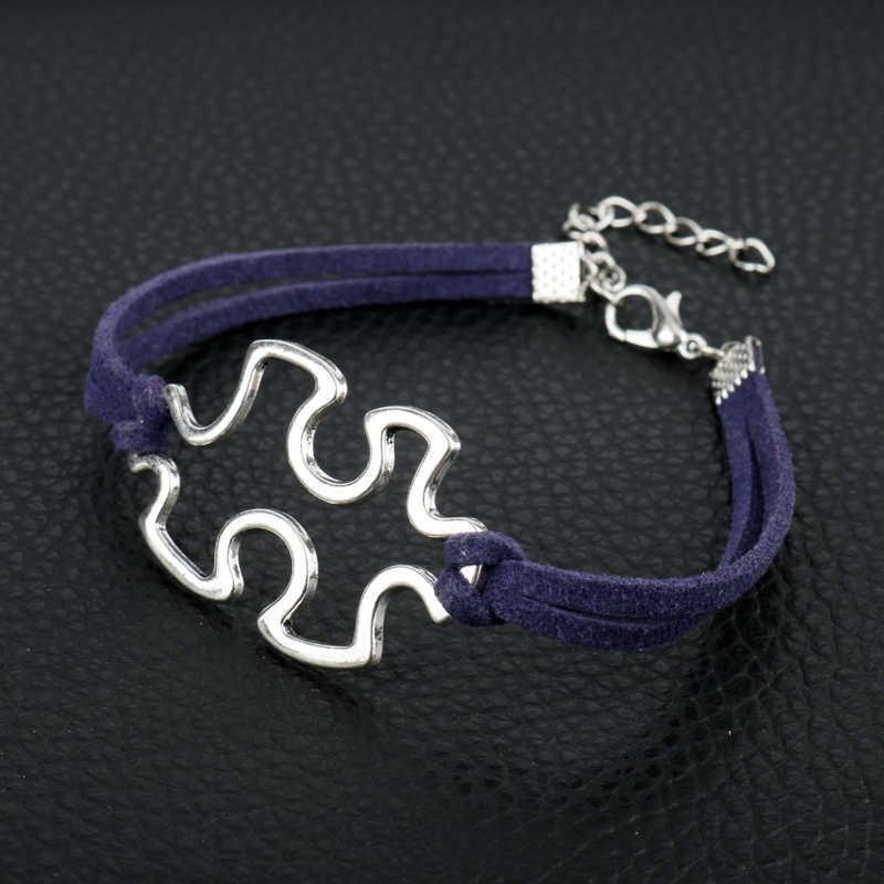 Новые поступления для девочек Женский браслет кожаный Веревка головоломка Шарм браслет осознание аутизма головоломки подарок