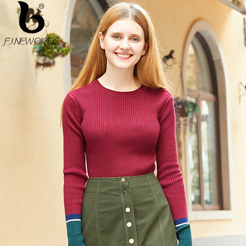 FINEWORDS Casual Knitted Pullover Solid Christmas Sweater Women Slim pull femme Sleeve Split Winter 2017 New Knitting Sweaters