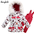 Girl ski suit 3pcs winter baby clothing set coat + fleece lining vest + pants Thicken arm children girls clothes 135F