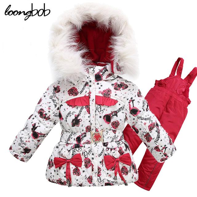 Menina de esqui terno 3 pcs conjunto de roupas de bebê casaco de inverno + colete + calça engrossar velo lining braço crianças roupa das meninas 135F