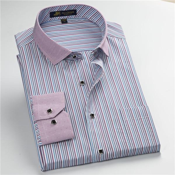 Pauljones 57xx дешевый воротник дизайн с длинными рукавами для мужчин s полосатые рубашки Повседневное платье Мужская рубашка в клетку Высококачественная Мужская одежда - Цвет: 5745