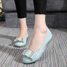 Добавить удобрения для увеличения плоской обуви Женщин Обувь Из Натуральной Кожи Удобные мягкие подошве балет плоские каблуки черный повседневная обувь