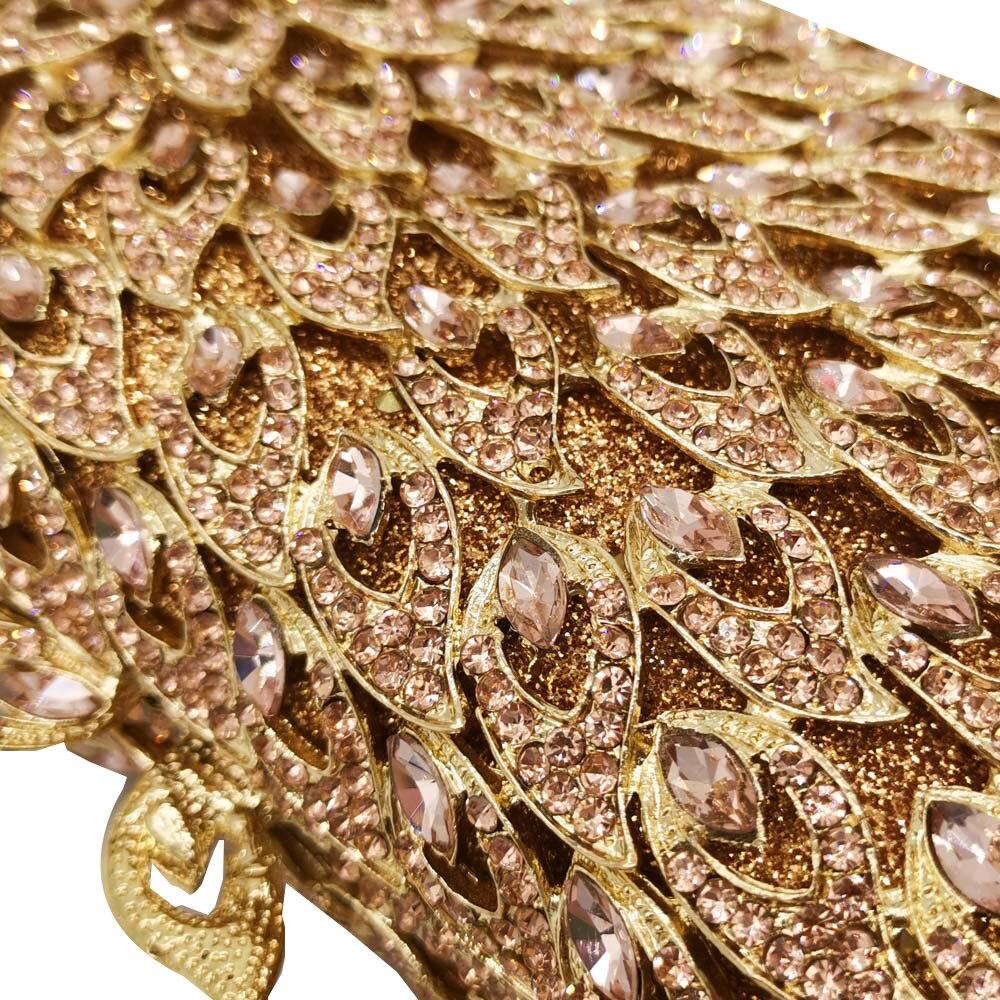 Image 4 - Boutique De FGG Hollow Out Women Diamond Evening Bags Metal  Minaudiere Purses and Handbags Bridal Wedding Crystal BagTop-Handle  Bags