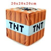Minecraft Knuffel 20*20*20 cm Minecraft TNT Gevulde Pluche Kussen Kussen Mini Bom Speelgoed Zachte Pluche Cartoon Game Speelgoed voor Kids