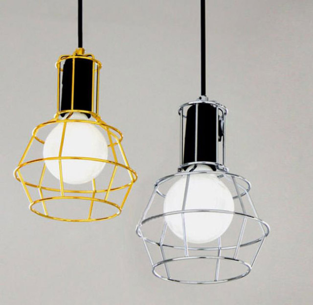 Work Lamp Iron Mesh Bird Cage Pendant Light Brief Personalized Plating Gold Silver Metal