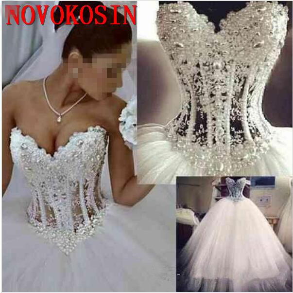 Lace Ball Gown Wedding Dresses Sweetheart Corset See Through Floor Length Princess Bridal Gowns Beaded Pearls Robe De Mariée