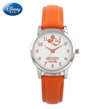 Disney марка дамы Кварцевые часы 30 м водонепроницаемый Женщина Микки Мультфильм Натуральной Кожи, Женские часы