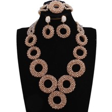 Dudo Gold Dubai Jewelry Set Round Circle Nigerian Necklace Set African Style Ethnic Jewellery Set With Bracelet and Earrings circle moon necklace bracelet earrings with ring set