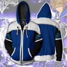 Game Kingdom Hearts Sora zipper hoodie Cosplay hoodie men and women sweater anime costume brand new