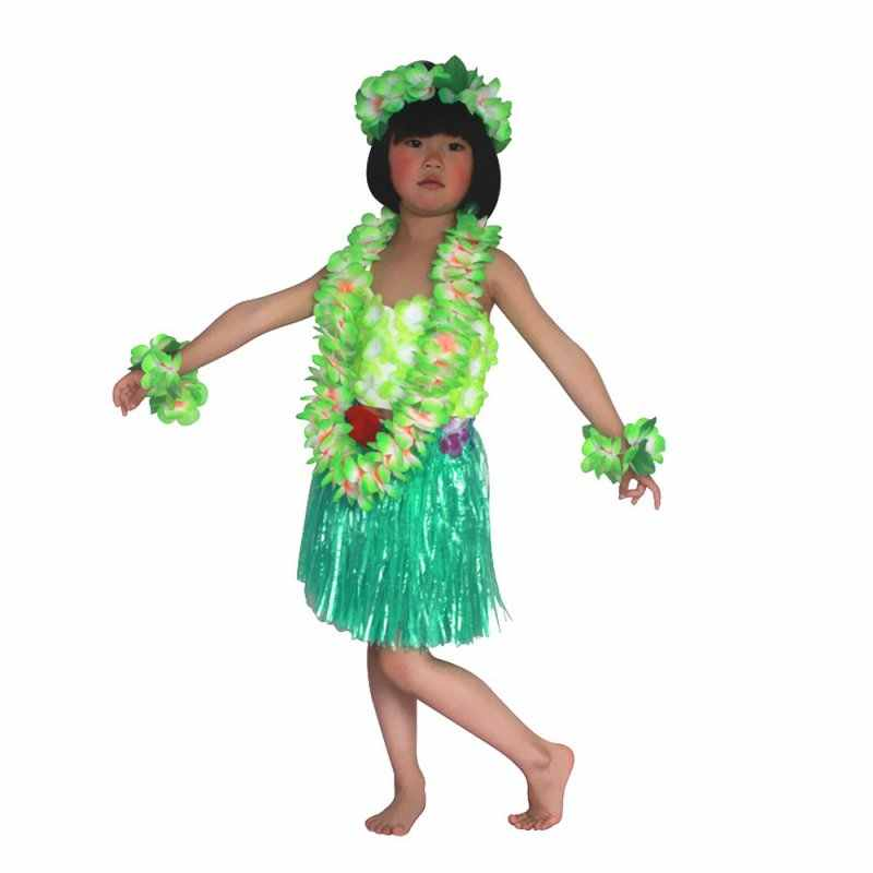 73709e83bf41 ... T-shirt +Skirt Child Kids Baby Girls Clothes Hawaiian Grass Skirt  Flower Hula Garland ...