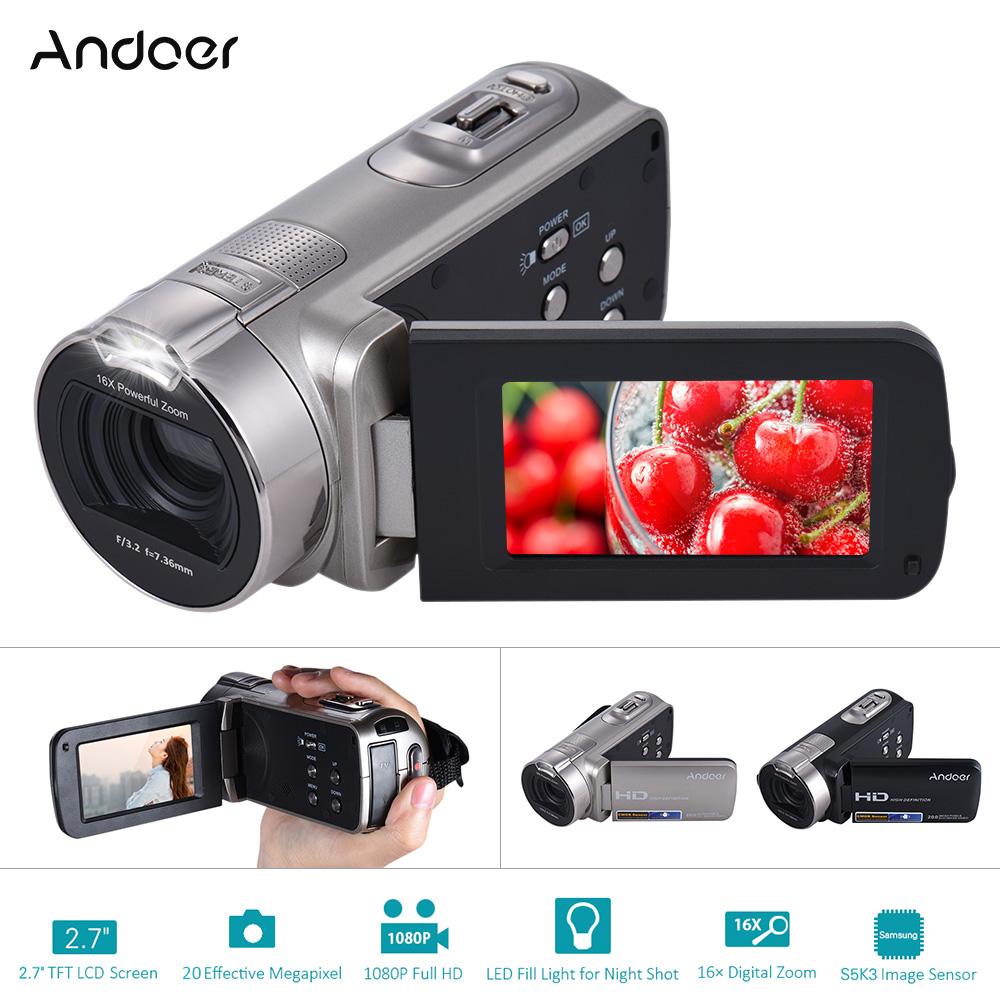 """Prix pour Andoer hdv-312p numérique vidéo caméra 20 m 1080 p full hd portable vidéo Caméra Accueil-utilisation Mini DV avec 2.7 """"TFT LCD Rotatif écran"""