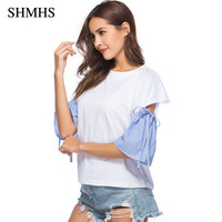 SHMHS 2018 Summer T Shirt Large Sizes Women T Shirt Solid O Neck Half Sleeve Striped