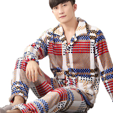 Мужская пижама из плотного флиса кораллового цвета Для мужчин пижамы Наборы для ухода за кожей с длинными рукавами и отложным воротником Пух воротник фланель теплая одежда для сна домашняя одежда плюс Размеры