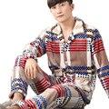 Pijamas masculinos Coral Fleece Grosso Homens Pijamas Define Manga Comprida Turn-Down Collar Flanela Quente Terno Sleepwear Roupa Em Casa plus Size