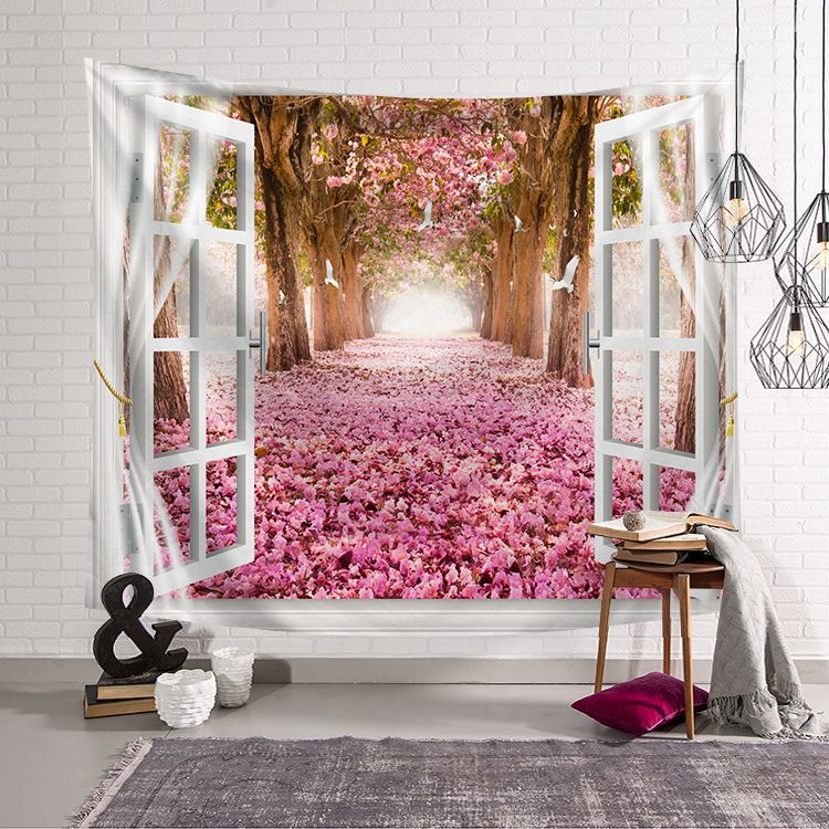 3D Wall Hanging Tapestry Scenery outside the windowPrinted Decorative Bedspread Dorm Cover Beach Towel Home Room Wall Art Decor