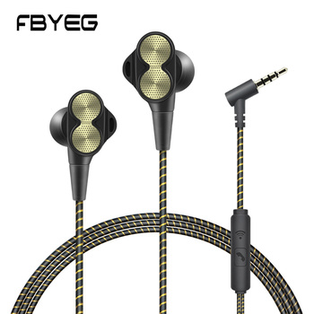 FBYEG DT800 Wired Earphone Headphone Sport Headset High bass dual drive stereo In ear Earbuds With Micrphone For Phone Xiaomi
