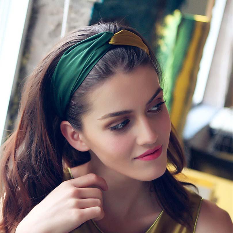 Haimeikang Women Vintage Headbands Retro Patchwork Ladies Cross Hair Bands Turban   Headwear   Headwrap Hair Accessories Trendy