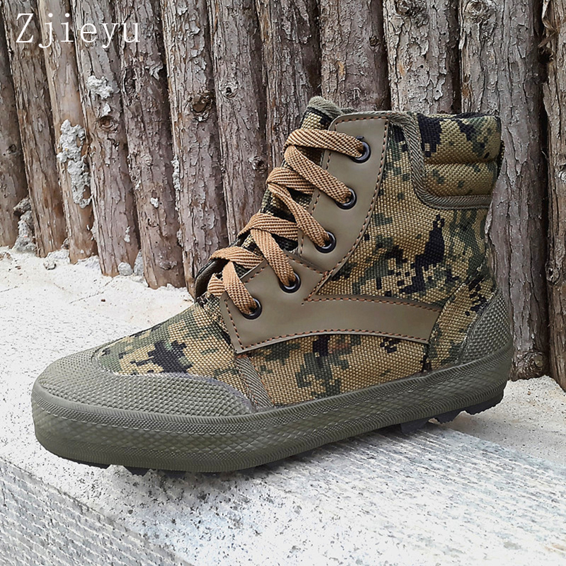 Home Neue Männer Leinwand Armee Bot Camouflage Stiefel Taktische Stiefel Kampf Hohe Marine Anti-skid Atmungsaktive Gummi Bots Dschungel Stiefel