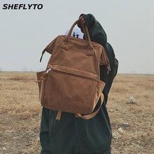 Купить с кэшбэком 2019 Fashion Winter Corduroy Backpacks For Women Casual Style Ladies Solid Color School Backpacks For Teenager Girls Travel Bags