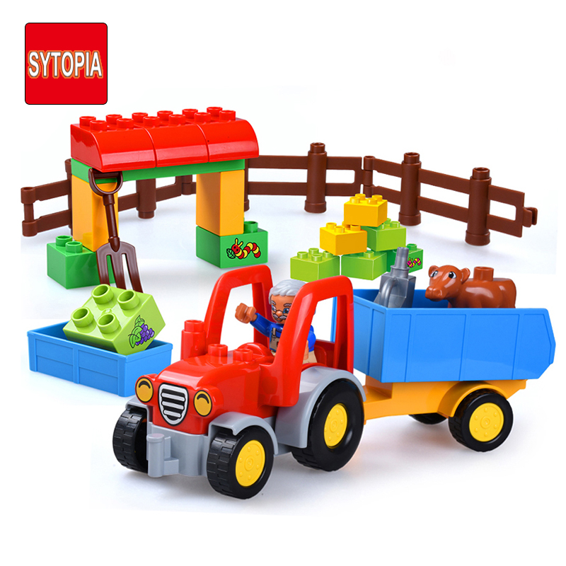 Sytopia Cattle Farm Country Life Children Building Blocks Big Size Educational Toy For Baby Kid Gift Toy Compatible With Duploe sytopia fire station fire police children building blocks big size educational toy for baby kid gift toy compatible with duploe