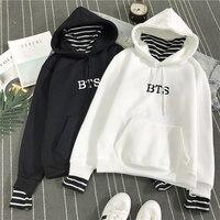 2018 New BTS Hoodie Bangtan Boys Hoodies Sweatshirt Tops Pullovers Kpop Fans Clothes Oversized Solid Cotton