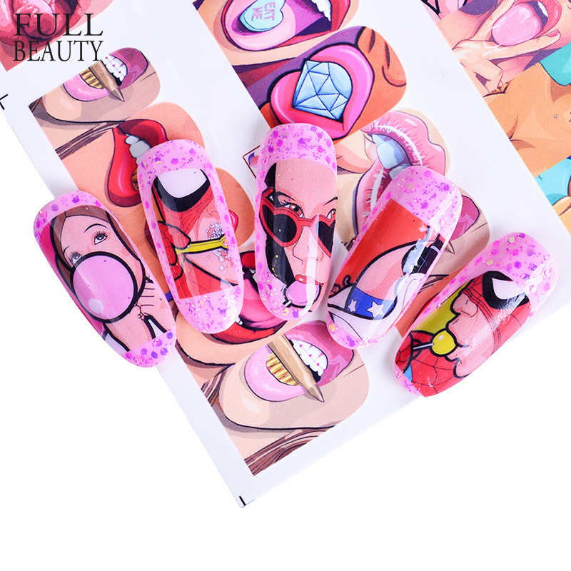 STZ 12 Designs/Sets Fashion Nail Art Sexy Cute Designs Watermark Sticker Decals for Nail Decorations Nail Tattoos BN385-396 губы с чупа чупсом