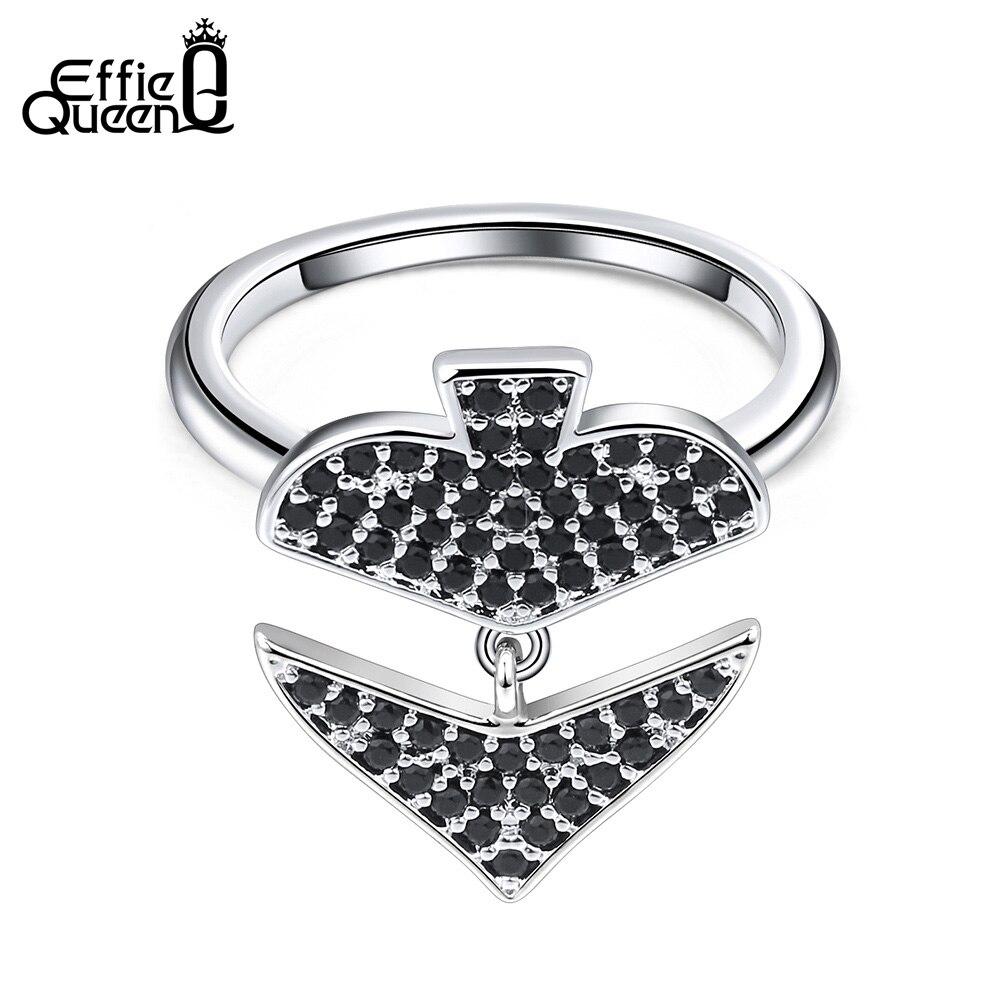 Effie Queen Poker Spade Shape Women Rings Black Heart AAA Cubic Zircon Dangle Finger Ring Fashion Female Jewelry 2019 Gift DR199