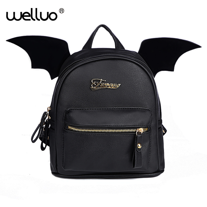 PU Leather Backpack Women Bat Wings Backpacks Teenage Girls Mini Black Bag Fashion Small Shoulder Bag Cute Mochila New XA83WB