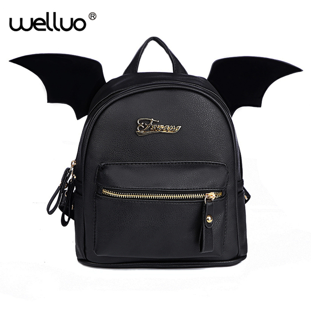 d74babab5a50 PU Leather Backpack Women Bat Wings Backpacks Teenage Girls Mini Black Bag  Fashion Small Shoulder Bag