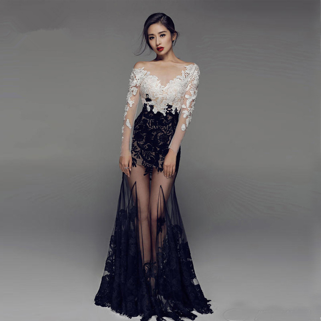 ae2b83a8b0ea HUIFANY Hot Sale Long Sleeves See through Bottom Haute Couture Evening  Dresses 2017 Lace Exquisite Evening Gowns robe de soiree