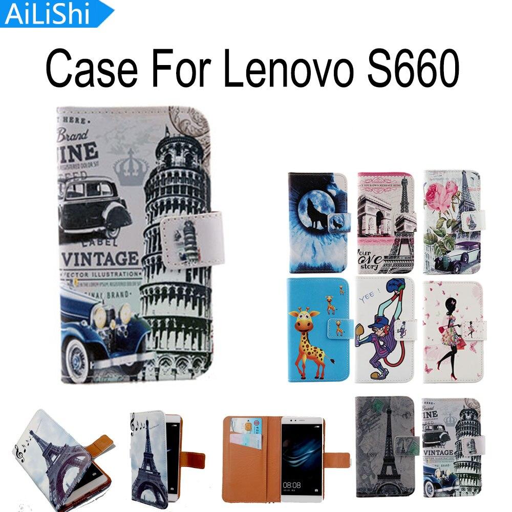 7f1cc347572 Ailishi Cartoon diseño 8 colores Flip con titular de la tarjeta de  protección de la piel de piel pu Funda de cuero para Lenovo S660 teléfono  móvil caso