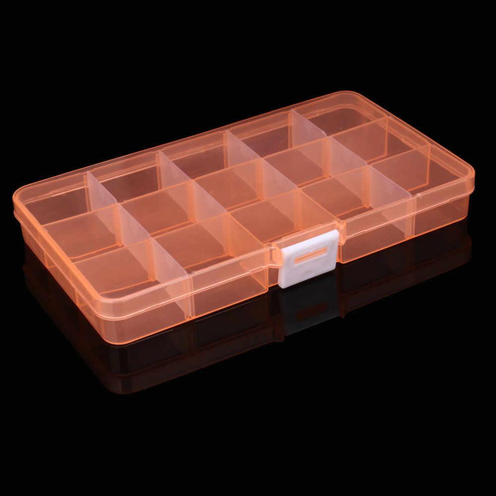 15 slotów regulowany pudełko do przechowywania biżuteria pudełko do przechowywania Case Craft Organizer koralik pudełko do przechowywania z tworzywa sztucznego