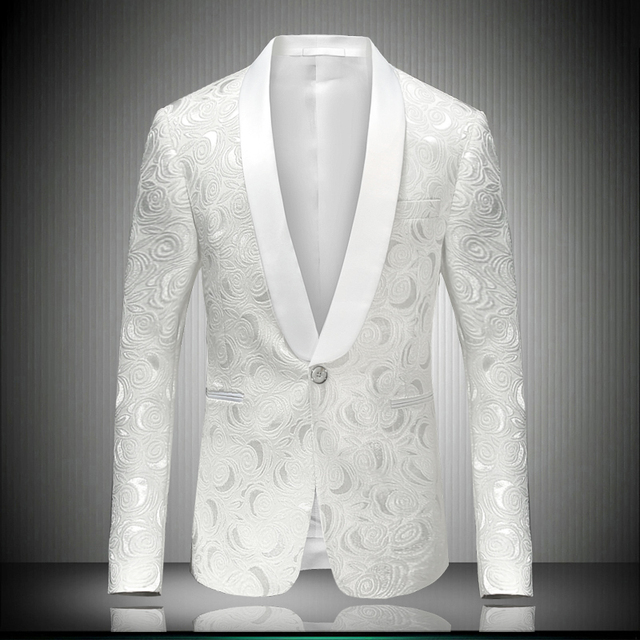 White Blazer Men 2018 Brand New Single Button Party Costume Prom Wedding Groom Singer Dancing Dress Gentleman Outerwear 8660