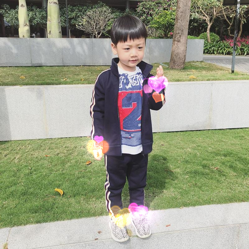 drop ship in stock 2018 brand Children suit set boys girls Spring Black tracksuit tops with pants Two Pieces kid brand clothing latex two colors tops rubber garment suit for boys