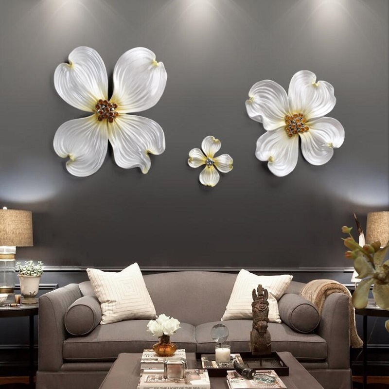Wall Hangings 3D Flower Wall Art Decorations Bedroom Wall Stickers TV Sofa Background Home Decoration Porcelain Decorative