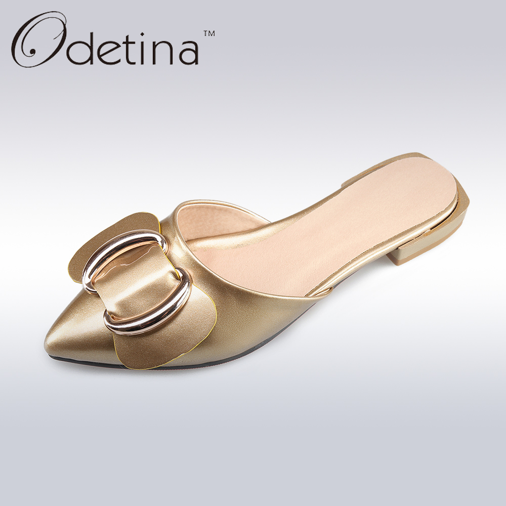 Odetina 2017 New Big Size 32-43 Summer Women Slingback Flats Pointed Toe Bowtie Flat Shoes Slip on Casual Mules D'ete Pour Femme цена и фото