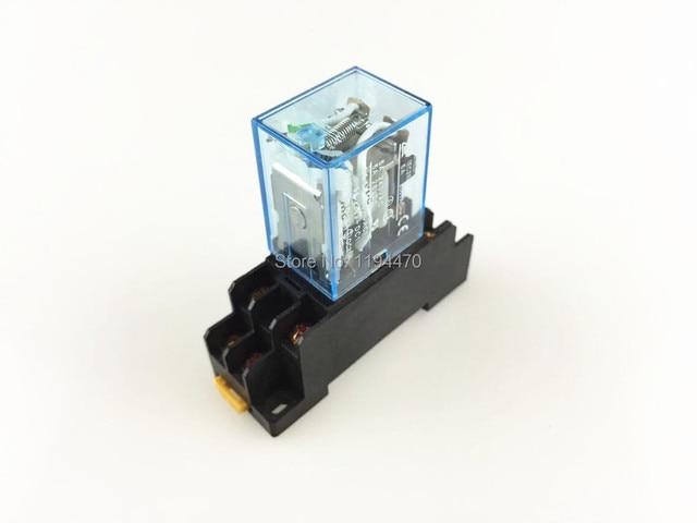 10 대/몫 전원 릴레이 LY2NJ 24 V DC 코일 소형 릴레이 DPDT 8 핀 10A 240VAC LY2 HH62P LY2 JQX 13F 함께 PTF08A 소켓베이스