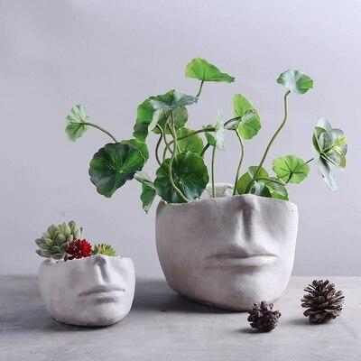 Ciment créatif nordique Portrait ornements maison bureau visage Type pot de fleurs porte-stylo céramique Simple viande en pot plantes