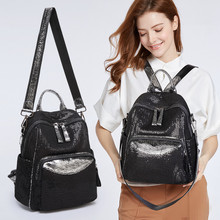Fashion shoulder bag casual travel backpack holographic women's bag canvas large capacity casual sequin school bags high quality