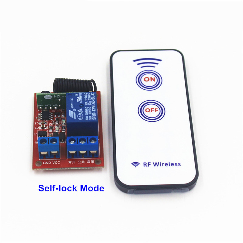 433mhz RF Wireless Remote Control Switch Receiver 1CH 12V 10A 1000W Self-latched Toggle Relay Module For Light Garage Door
