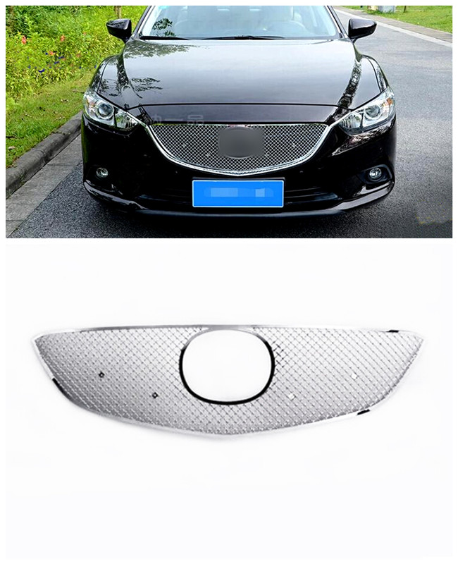 For Mazda 6 M6 Atenza 2013-2015 Stainless Front Center Grille Grill Cover Trim Exterior Chromium Styling Parts 1pcs chrome front hood grill cover trim for 2014 2015 mazda 6 atenza