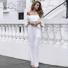 2019 Jumpsuit Women Sexy Bodysuit Autumn And Winter New Wear Hot Selling Explosive One Word Collar Shoulder Couplet Pants