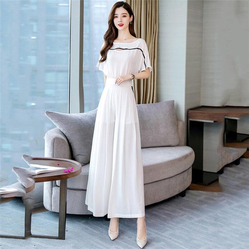 Ensemble deux pièces femmes noir blanc t-shirt et pantalon à jambes larges ensembles 2019 nouveau été hauts à la mode taille haute pantalon ensemble vêtements CX916