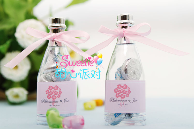 wedding favor box Mini champagne bottle with customized label-in Gift ...